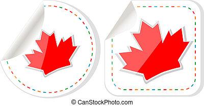 Happy Canada Day maple leaf card stickers set