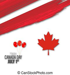 Happy Canada Day poster. Vector illustration greeting card. Canada Maple leaves on white background