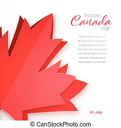 Happy Canada Day vector design. Greeting card with red canada maple leaf in paper art style. 1th of July celebration banner.