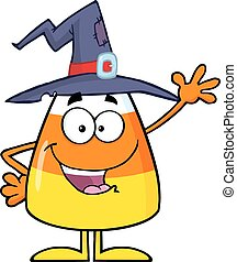Happy Candy Corn With A Witch Hat