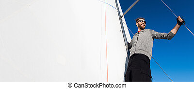 happy., capitão, yachtsman, plataformas, espaço, vela, ...