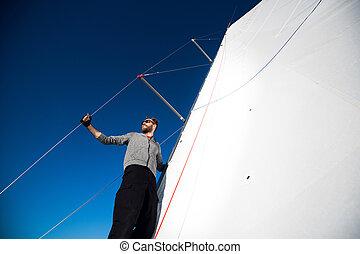 happy., capitão, yachtsman, plataformas, espaço, vela,...