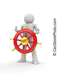 Happy captain steering the wheel - 3d isolated on white ...