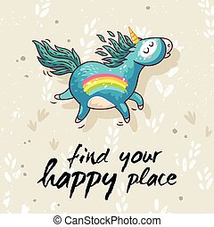 Happy card with cute unicorn. Vector cartoon illustration