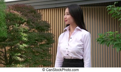 Happy Career Asian Business Woman