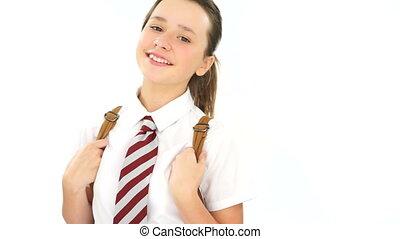 Happy carefree young schoolgirl