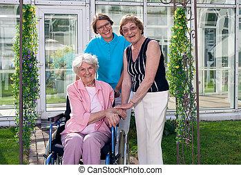 Caregivers for Elderly Patient at Home Garden