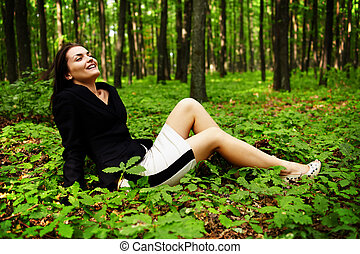 Happy careless businesswoman outdoor - Lomo style image of a...