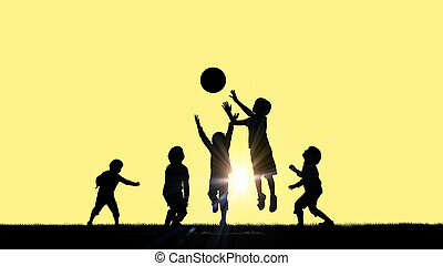 Happy careless childhood - Silhouettes of group of children...