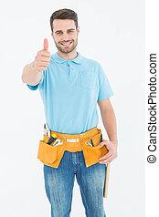 Happy carpenter gesturing thumbs up