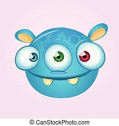 Happy cartoon alien head. Vector illustration of monster head