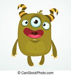 Happy cartoon alien monster with three eyes. Vector character. Big set of cartoon monsters