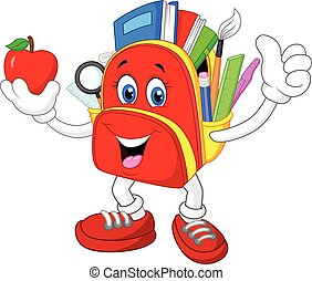 Happy cartoon bag giving thumb up w