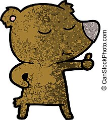 happy cartoon bear giving thumbs up