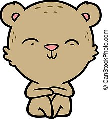 happy cartoon bear sitting