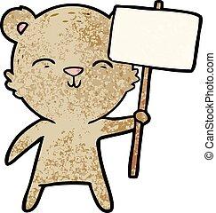 happy cartoon bear with sign