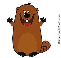 Happy cartoon beaver on white background, emotions, hugs
