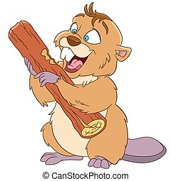 happy cartoon beaver with a wood piece, vector illustration...