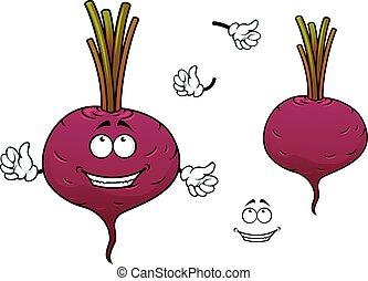Happy cartoon beetroot vegetable character