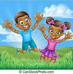 Happy Cartoon Black Kids Jumping