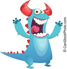 Happy cartoon blue monster mascot. Halloween vector illustration isolated