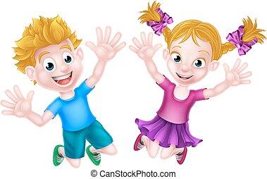 Happy Cartoon Boy and Girl Jumping