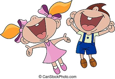 Happy cartoon boy and girl jumping in the air vector illustration