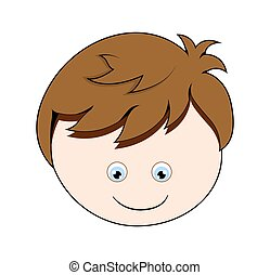 Happy Cartoon Boy Face Vector