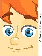 Happy cartoon boy face. Vector illustration of a little kid face avatar. Portrait of a boy smiling