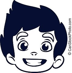 Happy cartoon boy head outline. Vector illustration for coloring book of a small boy  emblem