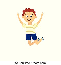 Happy cartoon boy jumping high in air with raised arms - flat isolated drawing