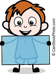 Happy Cartoon Boy Showing a Blank Board Vector Illustration