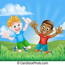 Happy Cartoon Boys Jumping - Happy cartoon young boys, one...
