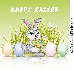 Happy cartoon bunny holding an egg