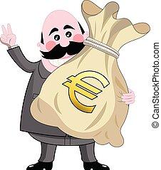 Happy cartoon businessman holding big sack full of money euro isolated