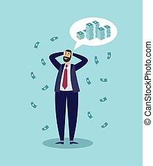 Happy cartoon businessman thinking about money. Rich successful man
