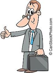 happy cartoon businessman with briefcase