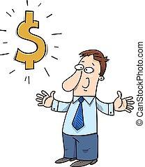 happy cartoon businessman with dollar sign