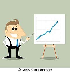 Happy Cartoon businessman with presentation graph