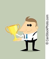 Happy Cartoon businessman with trophy