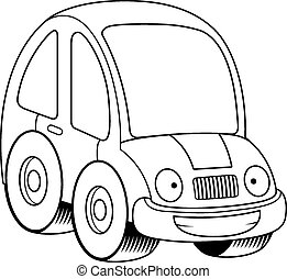 Happy Cartoon Car - A cartoon illustration of a car looking...