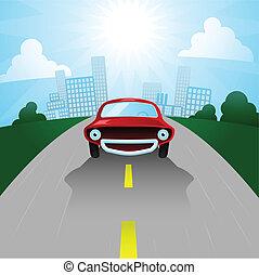 Happy Cartoon car - Cartoon car leaving the city for the...