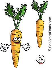 Happy cartoon carrot character with a smiling goofy face and...