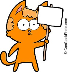 happy cartoon cat with sign