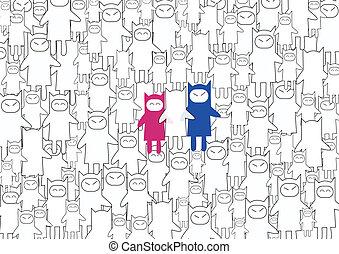 Happy cartoon cats family