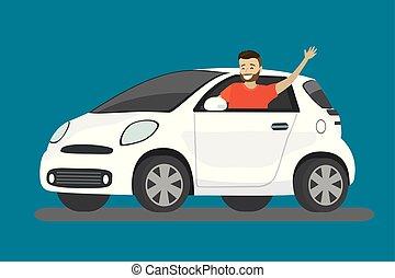 Happy cartoon caucasian man rides in white car