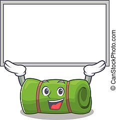 Happy cartoon character camping mat Scroll raised up board....