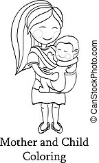 Happy cartoon characters, mother carrying a child using a handy baby carrier