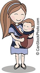 mother carrying a child