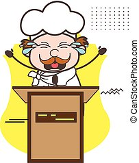 Happy Cartoon Chef Announcing on Seminar Vector Illustration